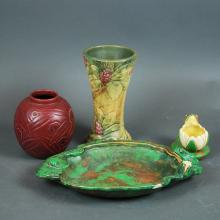 4 AMERICAN WELLER ART POTTERY TABLE ITEMS