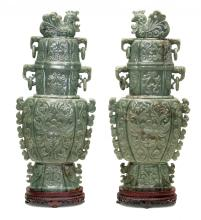 A VERY LARGE PAIR OF JADE VASES,CHINESE, 20th CENTURY