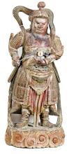 CHINESE CARVED POLYCHROMED WOOD WARRIOR