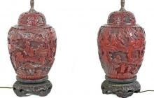 PAIR CARVED CINNABAR VASES NOW MOUNTED AS LAMPS,CHINESE
