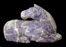 LARGE AMETHYST CARVING OF A HORSE, CHINESE