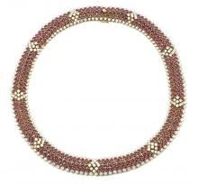 18K GOLD RUBY AND DIAMOND NECKLACE