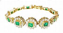 GOLD, EMERALD AND DIAMOND EMERALD BRACELET