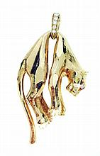 CARTIER GOLD AND DIAMOND 'PANTHER' PENDANT