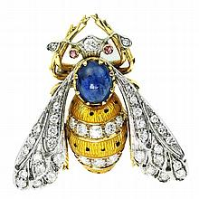 GOLD, DIAMOND, AND ENAMEL ???BEE??? BROOCH