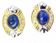 PAIR SAPPHIRE AND DIAMOND EARRINGS