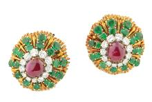 PAIR OF RUBY, EMERALD AND DIAMOND EAR CLIPS