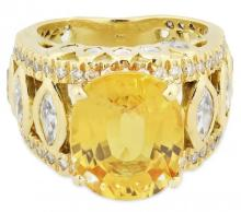 CHRISTOPHER KAUFMANN YELLOW SAPPHIRE AND DIAMOND RING