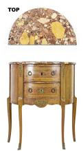 LOUIS XV STYLE MARBLE TOP INLAID WALNUT PETITE COMMODE