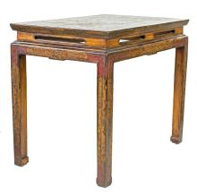 CHINESE PAINTED AND INCISED WOOD SIDE TABLE, NO RESERVE