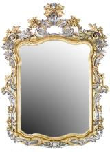 LOUIS XV STYLE PART SILVERED AND GILTWOOD MIRROR