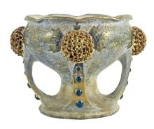 AMPHORIA PARCEL GILT 'JEWELED' CERAMIC CENTERPIECE