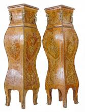 PAIR, NAPOLEAN III STYLE BRONZE TULIPWOOD PEDESTALS