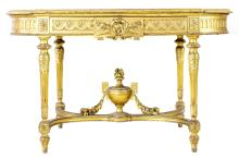 NEOCLASSICAL STYLE LEATHER-INSET GILTWOOD CENTER TABLE