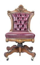 AMERICAN RENAISSANCE GILT AND EBONIZED WALNUT CHAIR