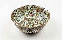 CHINESE EXPORT ROSE MEDALLION GILT PORCELAIN PUNCH BOWL