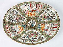 EXPORT ROSE MEDALALLION PORCELAIN WELL & TREE PLATTER