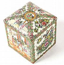 CHINESE EXPORT ROSE MEDALLION PORCELAIN COVERED BOX