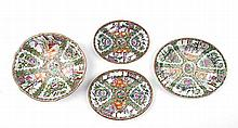 FOUR ROSE MEDALLION PORCELAIN TABLE ITEMS