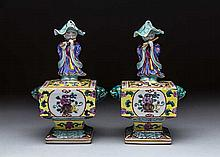 PAIR CHINESE ENAMEL DECORATED PORCELAIN FIGURAL CENSORS