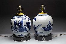 PAIR OF CHINESE BLUE & WHITE PORCELAIN JARS, NOW LAMPS