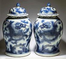 PAIR BLUE/WHITE DRAGON PORCELAIN COVERED JARS