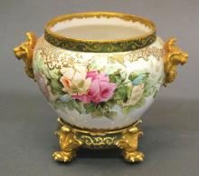 LIMOGES PORCELAIN JARDINIERE AND STAND