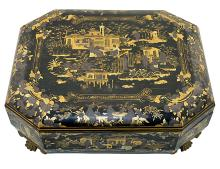 BLACK LACQUER GAME BOX, CHINESE, 19TH/20TH CENTURY