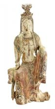 WOOD FIGURE OF GUANYIN CHINESE,18th/19th CENTURY