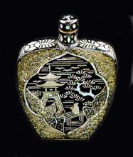 MOTHER OF PEARL AND BLACK LACQUER SNUFF BOTTLE, CHINESE
