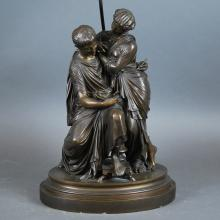 CONTINENTAL PATINATED BRONZE FIGURAL GROUP, LATE 19TH C