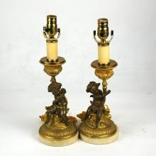 PR. FRENCH GILT BRONZE FIGURAL CANDLESTICK/LAMPS, 19TH