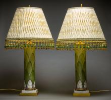 PR. MARBLE MTD. PAINTED OPALINE GLASS LAMPS