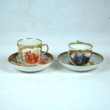 2 PORCELAIN CUPS & SAUCERS: KPM, VIENNA & MEISSEN, 19TH