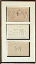 RAOUL DUFY (1877-1953) 3 PENCIL ON PAPER ASCOT DRAWINGS