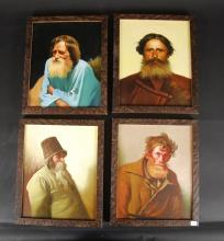 (RUSSIAN SCHOOL) 4 PORTRAITS (ICONS) OF RUSSIANS