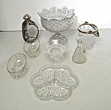 EIGHT MISCELANEOUS MOLDED & CUT GLASS TABLE ITEMS