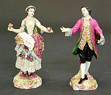 PAIR OF FRENCH PORCELAIN FIGURES OF A MAN AND WOMAN
