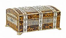 ANGLO-INDIAN TORTOISESHELL AND IVORY SEWING BOX