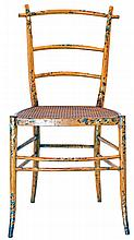 A VICTORIAN PAINTED SATINWOOD SIDE CHAIR