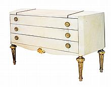 FRENCH BUTTON-TACKED GILT WOOD & GILT METAL COMMODE