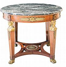 EMPIRE MARBLE TOP BRONZE MOUNTED MAHOGANY BOUILLOTTE