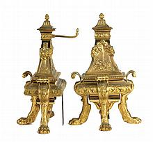 PAIR OF LOUIS XIV STYLE GILT BRONZE CHENETS
