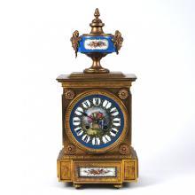 LOUIS XVI STYLE BRONZE & 'SEVERES' PORCELAIN CLOCK