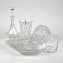 FIVE ASSORTED CUT AND MOLDED GLASS TABLE ITEMS