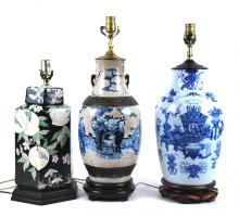 3 CHINESE ENAMEL DECORATED PORCELAIN VESSELS, NOW LAMPS