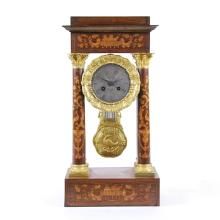 DUTCH LATE NEOCLASSICAL MARQUETRY MANTLE CLOCK, 19TH C