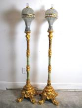 PAIR OF ONYZ, GILT BRONZE AND CUT GLASS TORCHERE