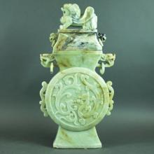 LARGE CHINESE CARVED JADE COVERED URN