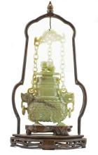CHINESE CARVED JADE HANGING COVERED VASE